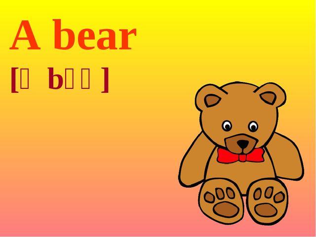 A bear [ə bɛə]