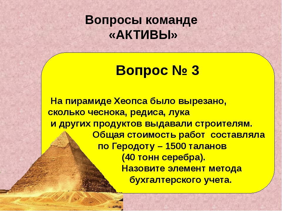 Вопрос № 3 На пирамиде Хеопса было вырезано, сколько чеснока, редиса, лука и...