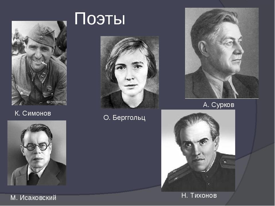 Поэты К. Симонов А. Сурков М. Исаковский О. Берггольц Н. Тихонов