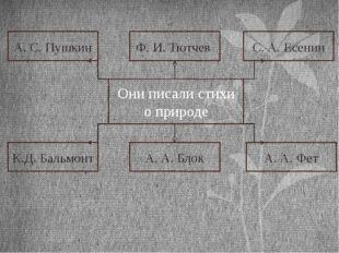 А. С. Пушкин Ф. И. Тютчев С. А. Есенин К.Д. Бальмонт А. А. Блок А. А. Фет Он