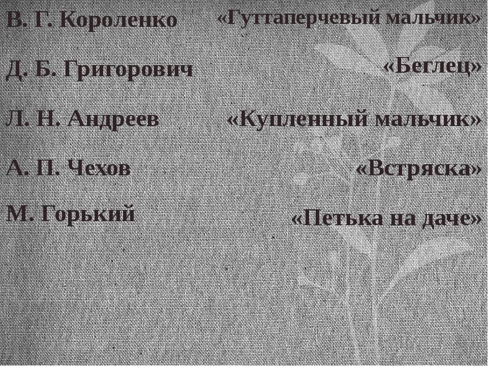 В. Г. Короленко Д. Б. Григорович Л. Н. Андреев А. П. Чехов М. Горький «Куплен...