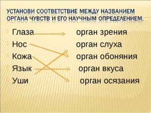 Глаза орган зрения Нос орган слуха Кожа орган обоняния Язык орган вкуса Уши о