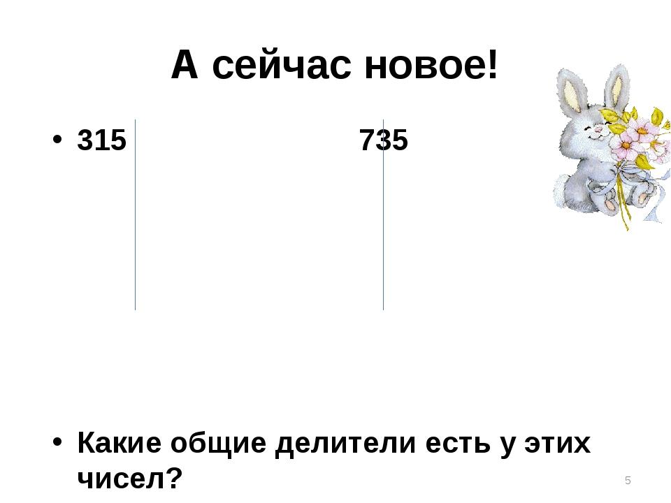 А сейчас новое! 315 735 Какие общие делители есть у этих чисел? *