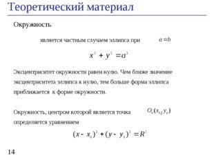 Теоретический материал * Окружность является частным случаем эллипса при Эксц