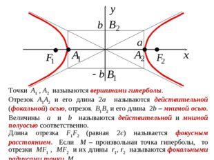 Точки A1 , A2 называются вершинами гиперболы. Отрезок A1A2 и его длина 2a наз