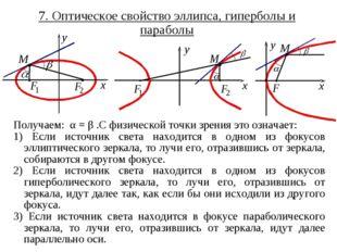7. Оптическое свойство эллипса, гиперболы и параболы Получаем: α = β .С физич