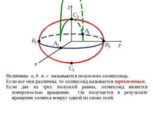 Величины a, b и c называются полуосями эллипсоида. Если все они различны, то