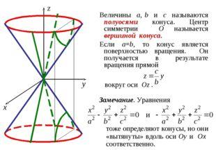 Величины a, b и c называются полуосями конуса. Центр симметрии O называется в
