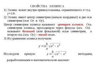 СВОЙСТВА ЭЛЛИПСА 1) Эллипс лежит внутри прямоугольника, ограниченного x=a, y