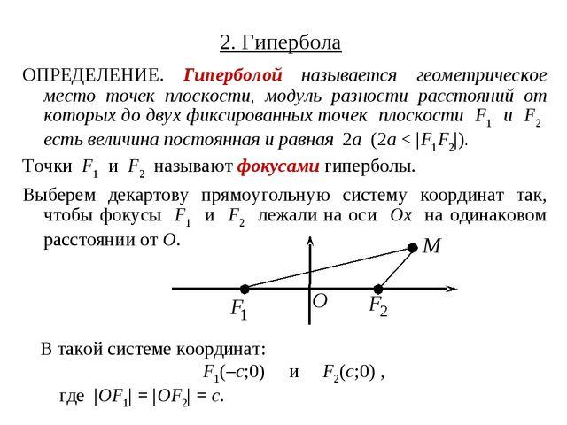 2. Гипербола ОПРЕДЕЛЕНИЕ. Гиперболой называется геометрическое место точек пл...