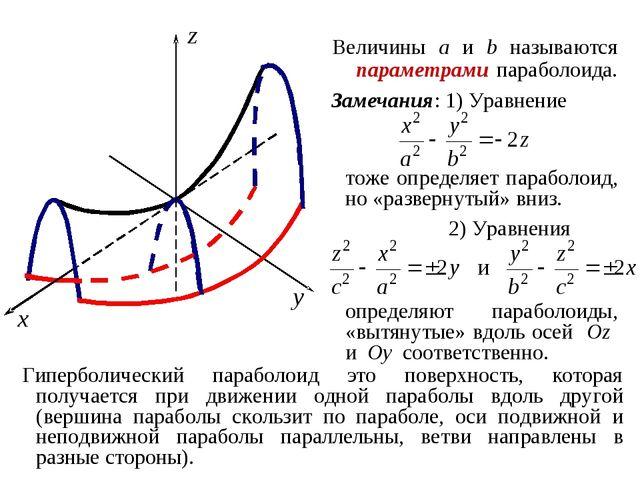 Величины a и b называются параметрами параболоида. Замечания: 1) Уравнение то...