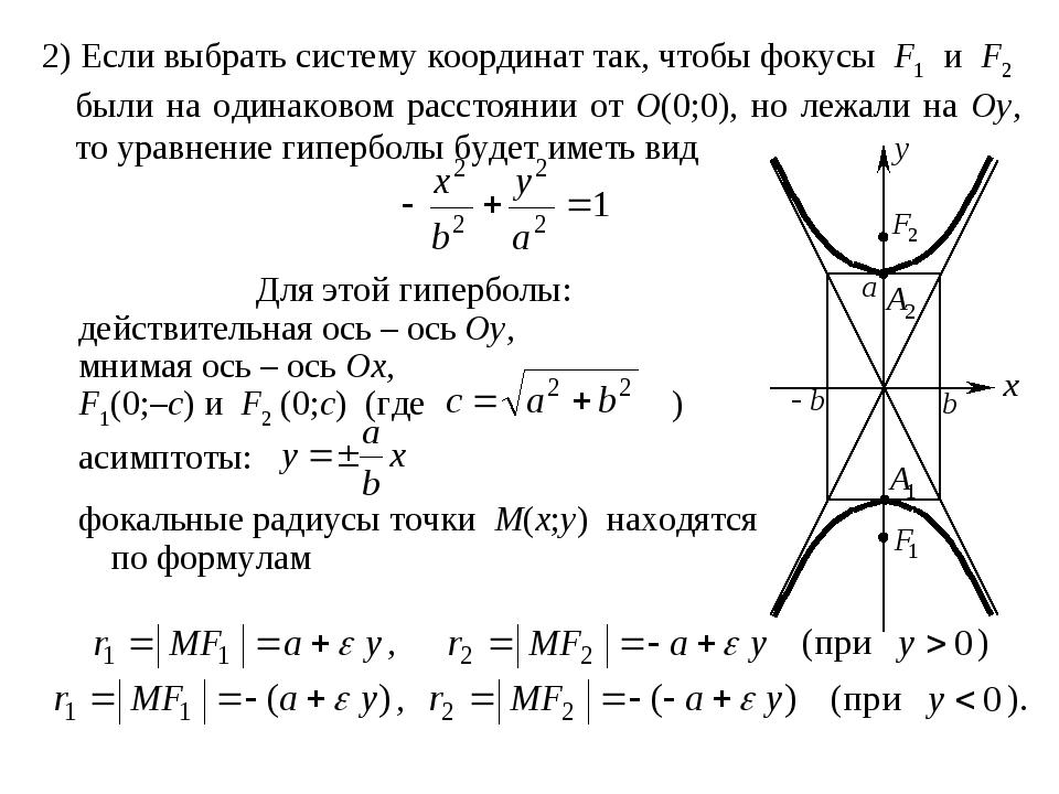 2) Если выбрать систему координат так, чтобы фокусы F1 и F2 были на одинаково...