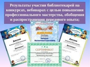 Результаты участия библиотекарей на конкурсах, вебинарах с целью повышения пр