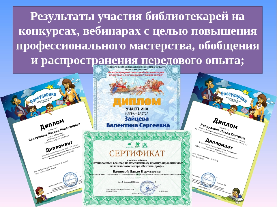 Результаты участия библиотекарей на конкурсах, вебинарах с целью повышения пр...