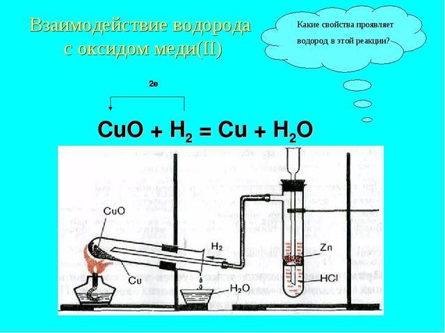 Взаимодействие водорода с оксидом меди(II) 2е СuO + H2 = Cu + H2O Какие свойс...