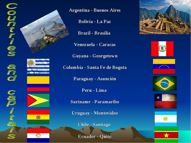 Argentina - Buenos Aires Bolivia - La Paz Brazil - Brasilia Venezuela - Carac...
