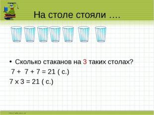 Сколько стаканов на 3 таких столах? 7 + 7 + 7 = 21 ( с.) 7 х 3 = 21 ( с.) На