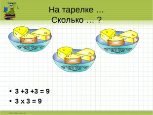 3 +3 +3 = 9 3 х 3 = 9 На тарелке … Сколько … ?