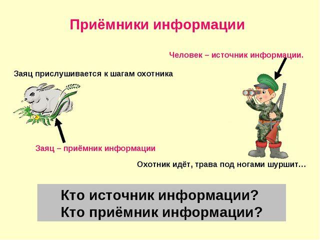 Приёмники информации Заяц прислушивается к шагам охотника Охотник идёт, трава...