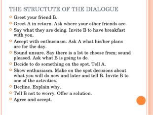 THE STRUCTUTE OF THE DIALOGUE Greet your friend B. Greet A in return. Ask whe