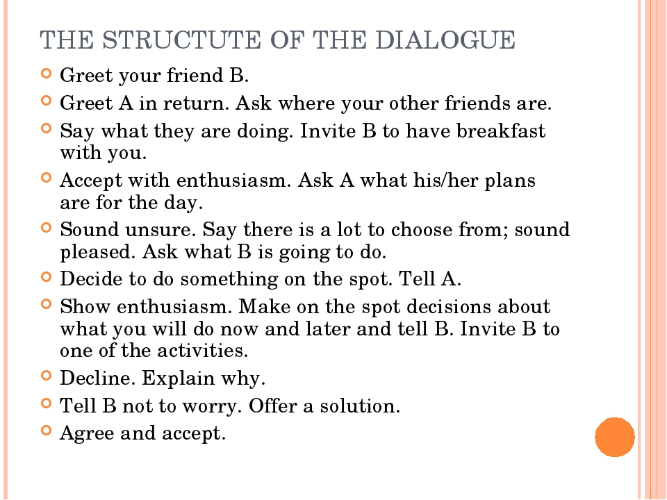 THE STRUCTUTE OF THE DIALOGUE Greet your friend B. Greet A in return. Ask whe...