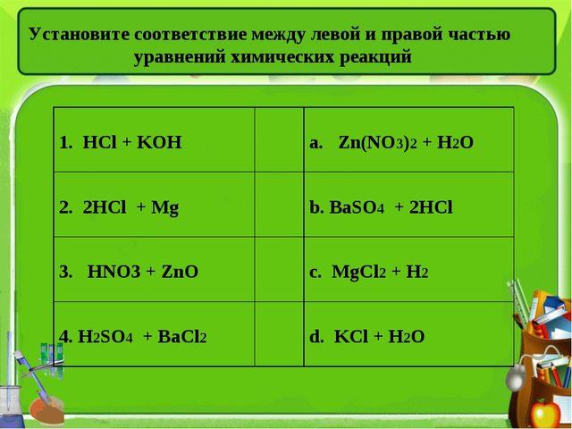 Установите соответствие между левой и правой частью уравнений химических реак...