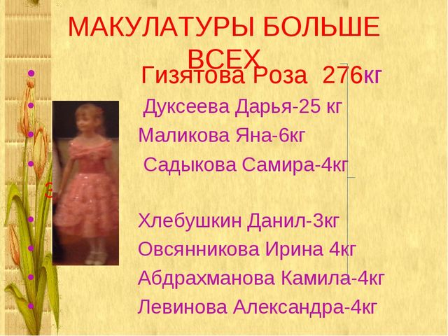 МАКУЛАТУРЫ БОЛЬШЕ ВСЕХ Гизятова Роза 276кг Дуксеева Дарья-25 кг Маликова Яна-...