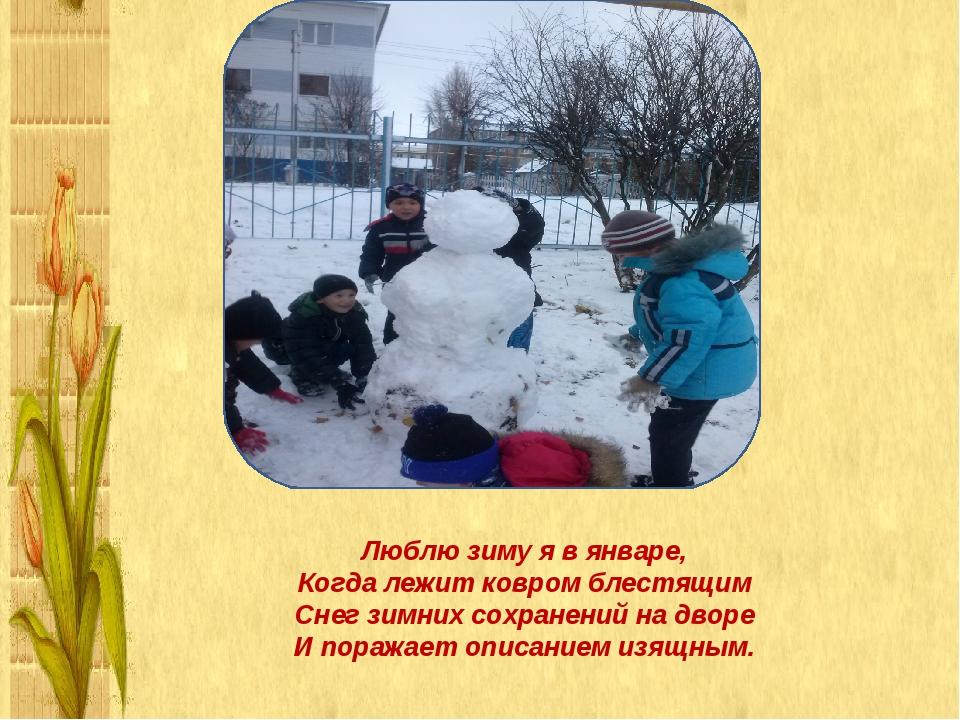 Люблю зиму я в январе, Когда лежит ковром блестящим Снег зимних сохранений...