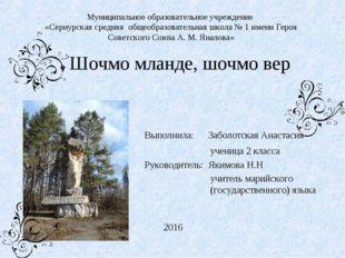Муниципальное образовательное учреждение «Сернурская средняя общеобразователь