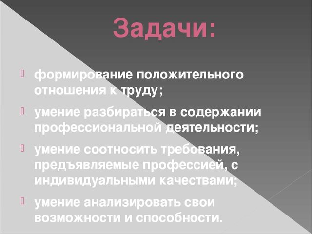 Задачи: формирование положительного отношения к труду; умение разбираться в с...