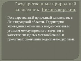 Государственный природный заповедник в Ленинградской области. Территория запо