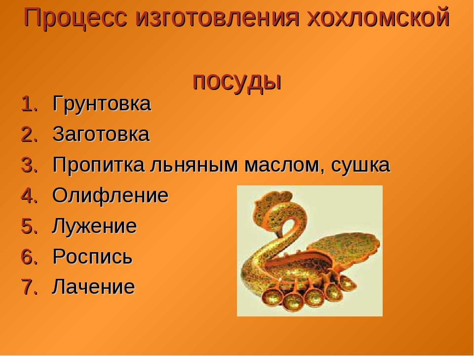 Процесс изготовления хохломской посуды Грунтовка Заготовка Пропитка льняным м...