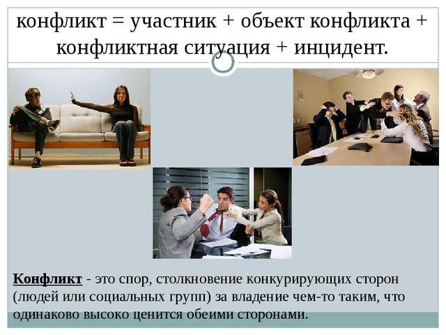 конфликт = участник + объект конфликта + конфликтная ситуация + инцидент. Кон...