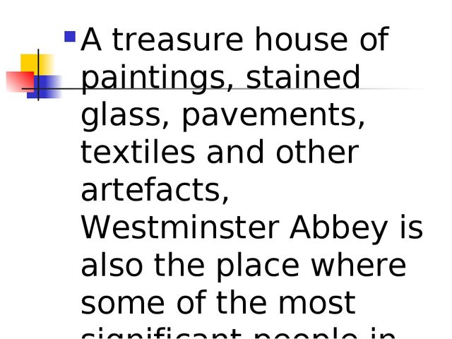 A treasure house of paintings, stained glass, pavements, textiles and other a...