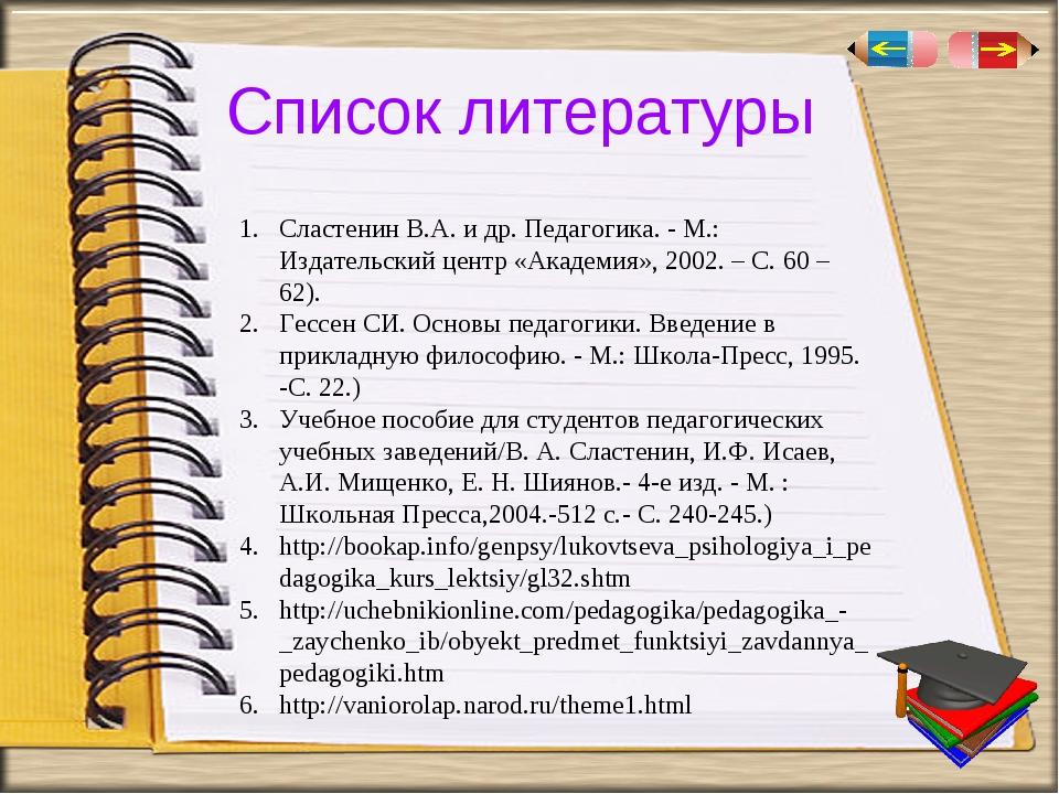 Список литературы Сластенин В.А. и др. Педагогика. - М.: Издательский центр «...