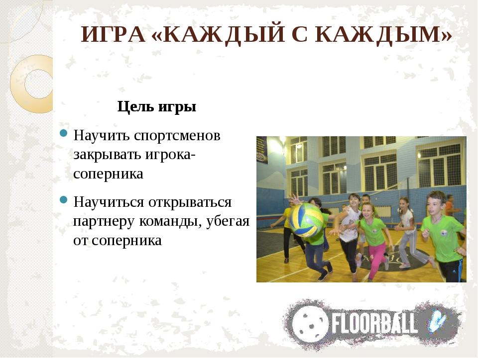 ИГРА «КАЖДЫЙ С КАЖДЫМ» Цель игры Научить спортсменов закрывать игрока-соперни...