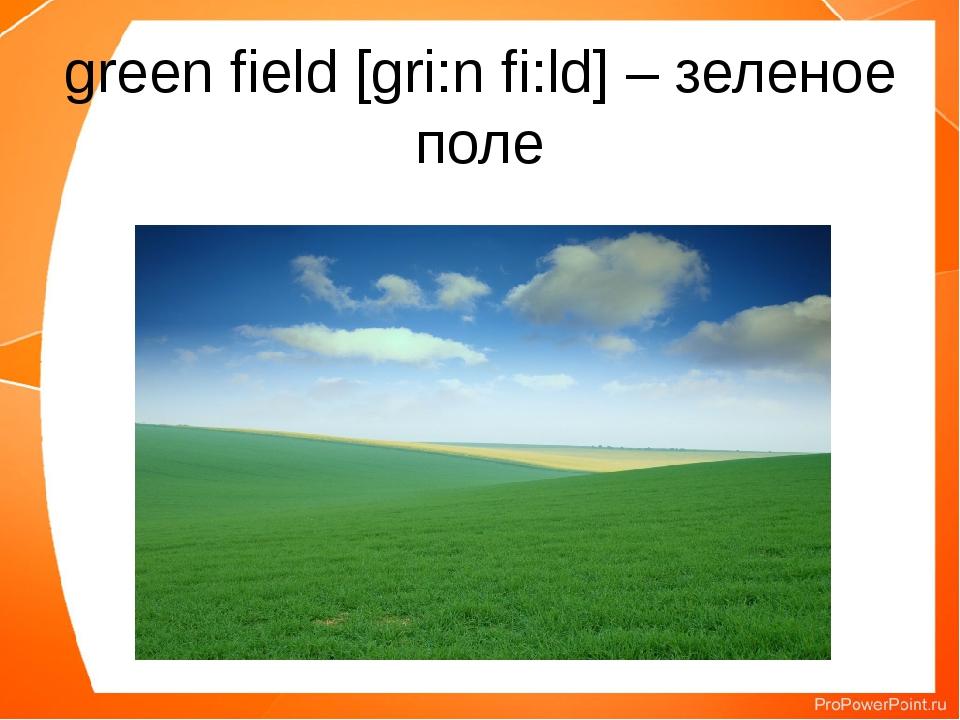green field [gri:n fi:ld] – зеленое поле