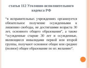 """статья 112 Уголовно-исполнительного кодекса РФ """"в исправительных учреждениях"""
