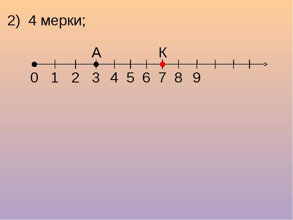 2) 4 мерки; 1 2 3 4 5 6 7 8 9 0 А К