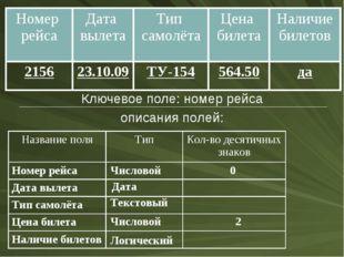 Ключевое поле: номер рейса описания полей: Числовой Дата Текстовый Числовой