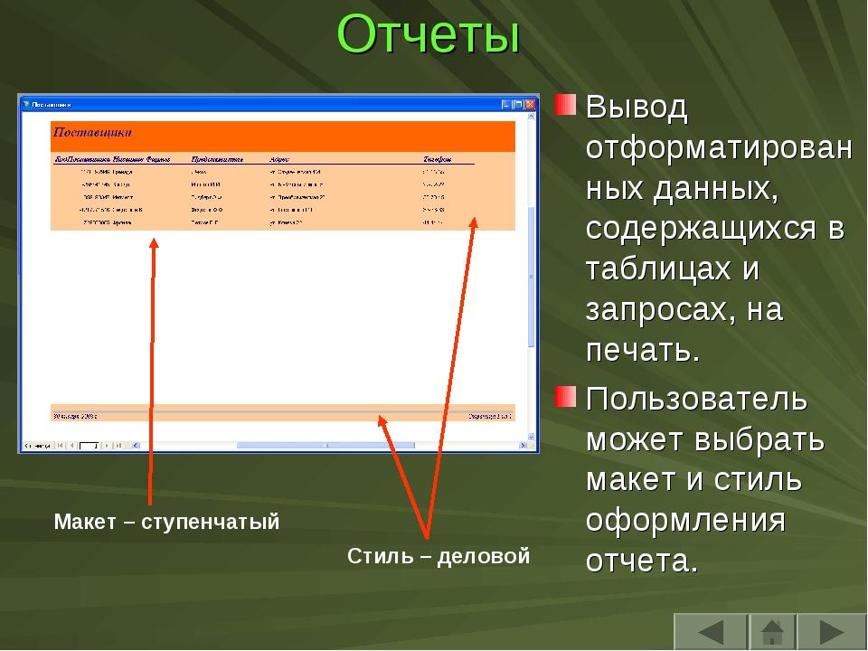 Отчеты Вывод отформатированных данных, содержащихся в таблицах и запросах, на...