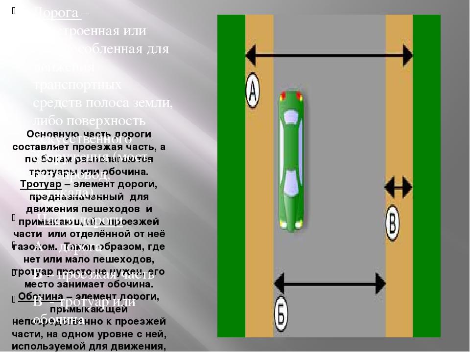 Основную часть дороги составляет проезжая часть, а по бокам располагаются тро...