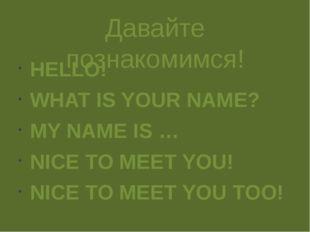 Давайте познакомимся! HELLO! WHAT IS YOUR NAME? MY NAME IS … NICE TO MEET YOU