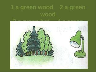 1 a green wood 2 a green wood 3 a green hat 4 a green lamp