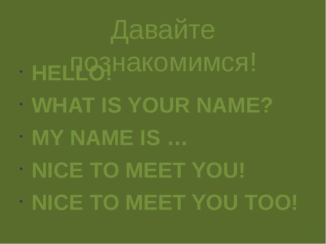 Давайте познакомимся! HELLO! WHAT IS YOUR NAME? MY NAME IS … NICE TO MEET YOU...