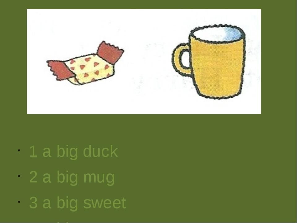 1 a big duck 2 a big mug 3 a big sweet 4 a big cat