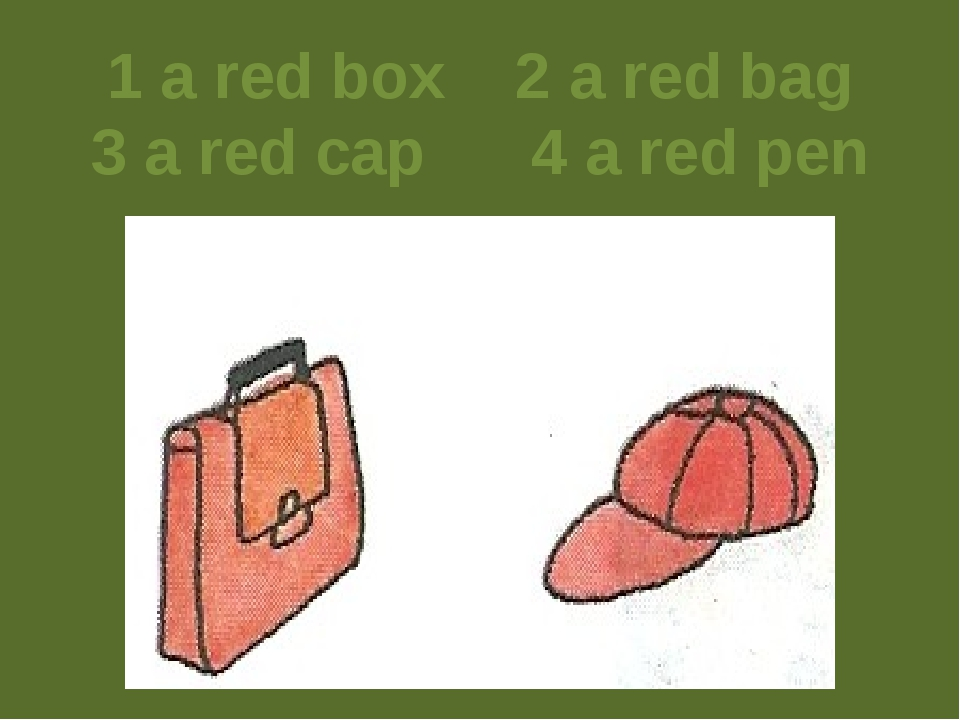 1 a red box 2 a red bag 3 a red cap 4 a red pen