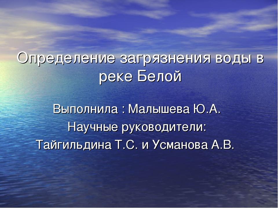 Определение загрязнения воды в реке Белой Выполнила : Малышева Ю.А. Научные р...