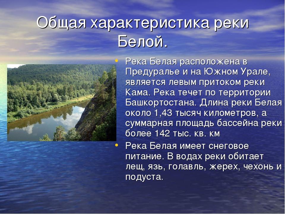 Общая характеристика реки Белой. Река Белая расположена в Предуралье и на Южн...