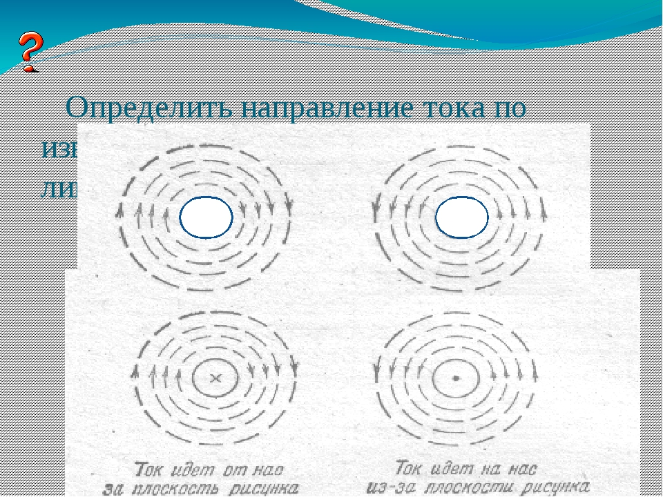 Определить направление тока по известному направлению магнитных линий